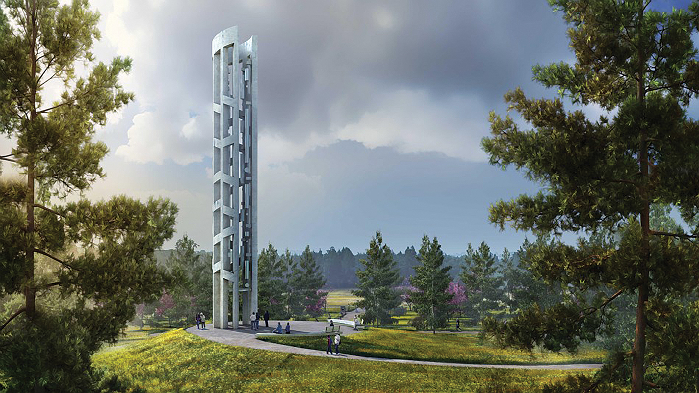 The Tower of Voices is conceived as a 93-foot tall musical instrument holding 40 wind chimes, representing the 40 victims of the Flight 93 crash. The tower will be dedicated Sept. 9, 2018.