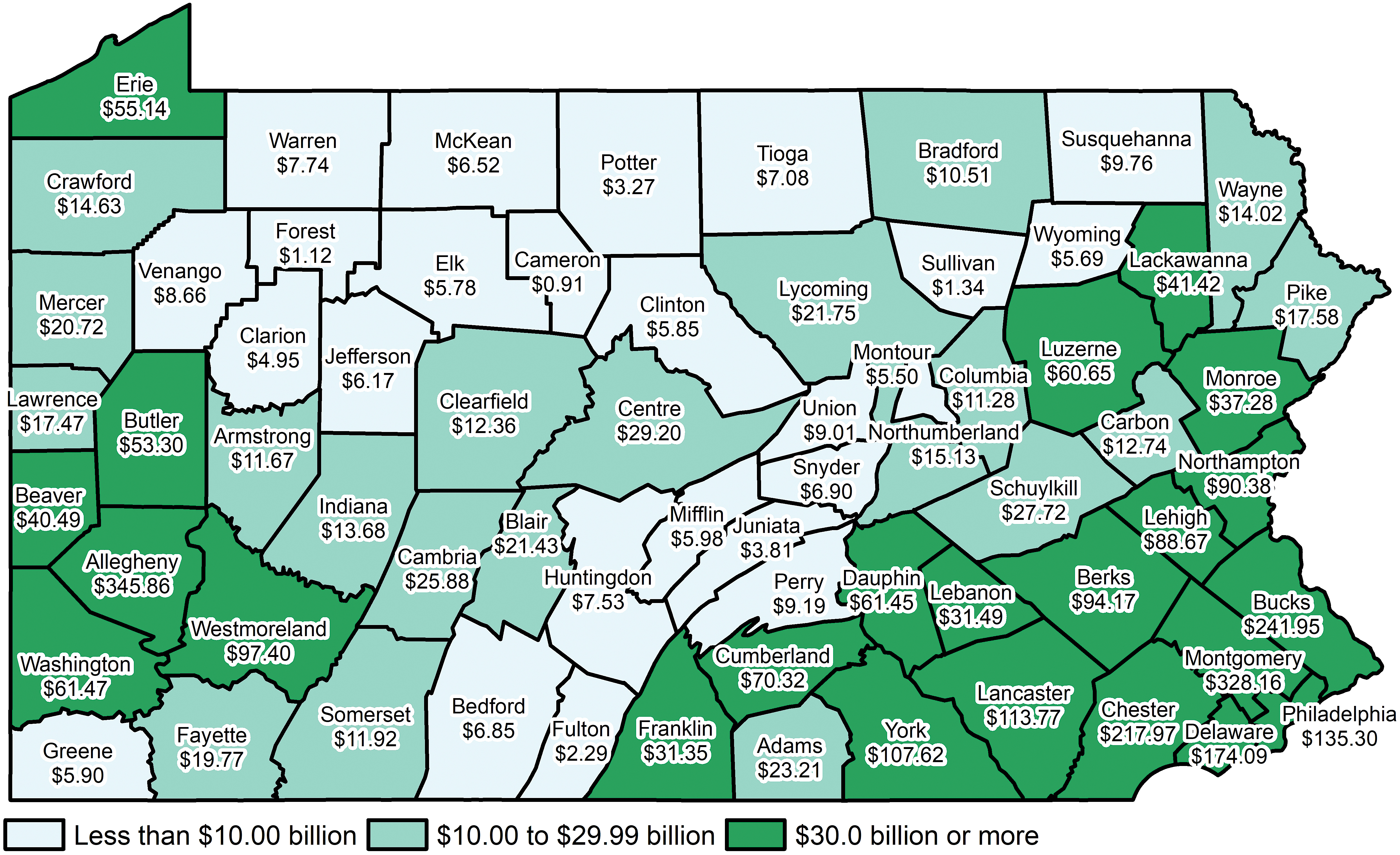The estimated current net worth (in billions) of Pennsylvania residents in 2015